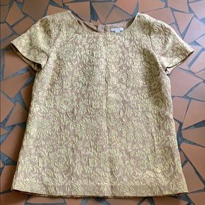 J Crew gold floral foil top shirt short sleeve 2
